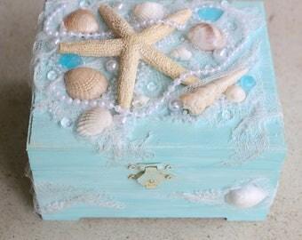 Mermaid Jewelry Box Shell Jewelry Box Treasure Box Trinket Box Sea Treasure Box Mermaid Treasure Box Starfish Box Beach Jewelry Box Wooden
