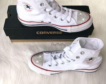 Women's Converse Chuck Taylor High Top Casual Shoes Customized with Swarovski Crystals