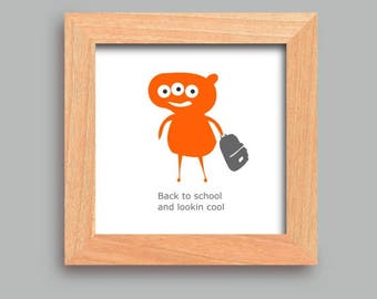Kids poster, Child's print, Child's room print, Kids print, Back to school, Monster, Cool, Orange, Funny, Children poster, Gift for child