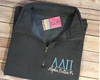ADPi Quarter Zip Sweatshirt - Alpha Delta Pi Pullover - Greek Letters 1/4 Zip - Adpi Pullover - Alpha Delta Pi Sorority