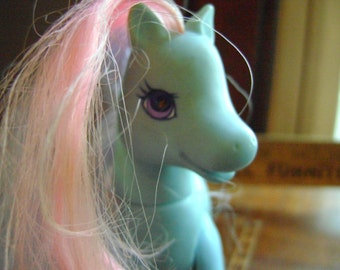 Vintage Blue My Little Pony Toy from the 1980's or 1990's with Purple Ivy on Rump, My Little Pony Ivy