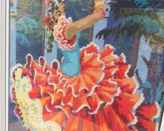 Spanish Flamenco Dancer, Framed Tapestry, Vintage Tapestry, Flamenco Dancer Tapestry