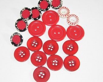 Red Plastic Buttons, 4 Different Sets, 4 Hole, 2 Hole And Shanks, Plus Vintage