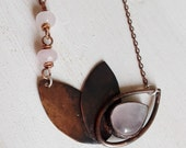 copper necklace with stylized Lotus Flower pendant with bezel