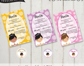 invitacion de comunion niña imprimible primera comunion invitaciones first communion invitation in spanish comunion en español digital file