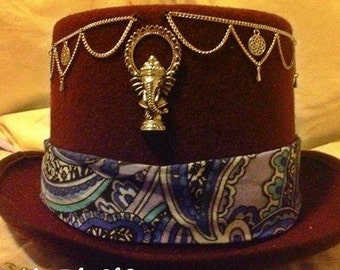 psy trance goa decorated brown top hat ganesh silver chain