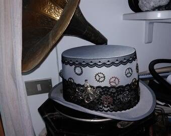 Steampunk Top Hat grey hat