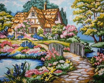 "Gobelin Tapestry Needlepoint Kit ""COTTAGE""  printed canvas 071"