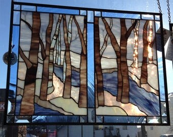 "Titled, ""Can you see through the trees?"" Large stained glass panel"