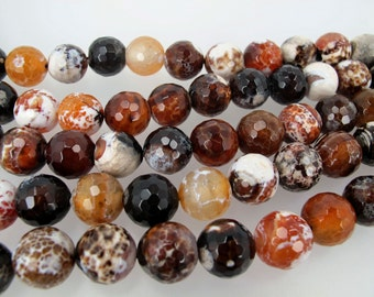 Fire crab agate beads. 14mm faceted round beads. Multi color gemstone beads.High quality