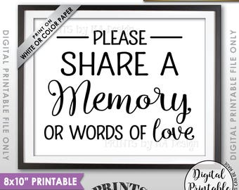"""Share a Memory Sign, Share Memories, Please Write a Memory, Graduation, Birthday, Anniversary, Funeral, 8x10"""" Printable Instant Download"""