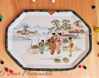 Japanese Hand Painted Kutani Geisha Ware Vintage Porcelain Tea Tray