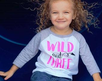 Wild and Three htv raglan shirt. 3 year old birthday shirt grey and white size 3t shirt