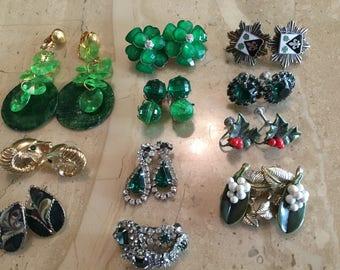 Eleven Pairs of vintage wearable earrings