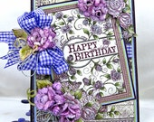 Purple Roses Hand Made Birthday Card with Pockets, Tags and Chocolate