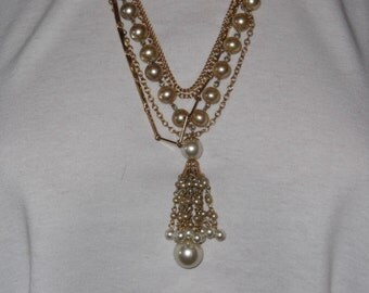 Multichain Necklace With Tassel Pendant and Faux Pearl Plus Gold Tone Chains 24 inch