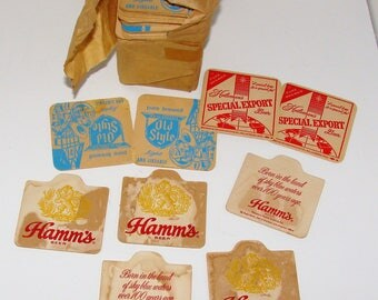 Old Beer Costers Old Bar Tavern Beer Coasters Hamms, Old Style, Special Export Great for Crafts