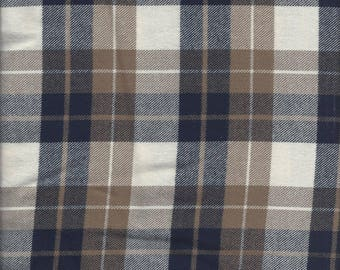 1 1/2 yards of blue & brown plaid flannel by the piece