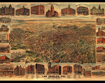 Panoramic Map of Los Angeles 1891. This is a Large print of Los Angeles depicted in 1891. This is a Wall Decoration not a Road Map!