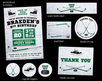 Hockey Birthday Party Invitation | Hockey Party Package | Green