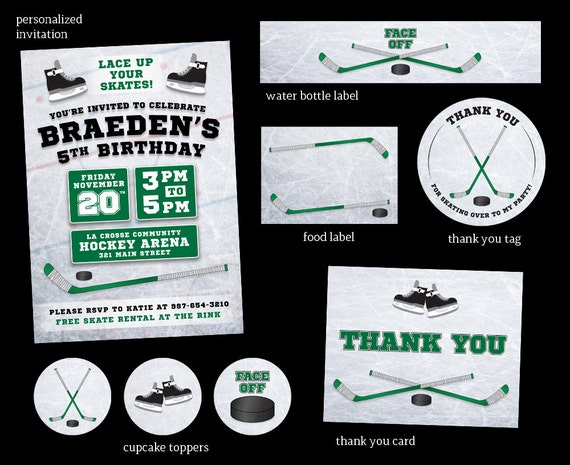 Hockey Birthday Party Invitation Hockey Party Package