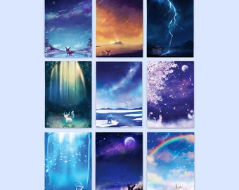 "Pokemon Eeveelutions Postcard Set: Eevee, Jolteon, Flareon, Sylveon, Umbreon, Espeon, Vaporeon, Leafeon, Glaceon, 4"" x 6"" postcards"