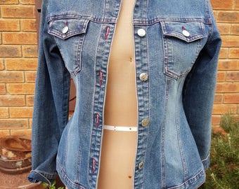 90s Vintage Denim jacket with front stud closure and red stitching grunge clothing grunge jacket