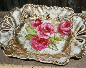 German hand painted Gold Reticulated Rose Platter!!