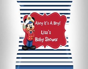 Mickey Mouse Favor Bags / Mickey  Party Favors / Mickey Potato Chip Favor Bags / Baby Shower Favors / Potato Chip Bag / Nautical / Ahoy