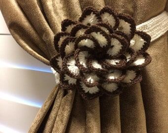 Crochet Curtain Tieback - Brown & Beige Flower. 1 pair