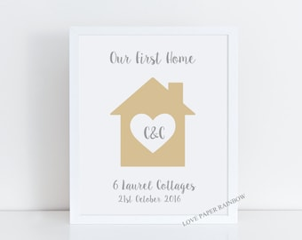 our first home, our first home print, our first home gift, new house gift, housewarming gift, home sweet home, first house together,