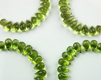 AAA Natural Premium Arizona Peridot Microfaceted Drop Briolettes Genuine Gemstones Gem Grade Untreated Beads August Birthstone Top Drilled