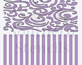 Fancy Scrolls and Stripes 2 in 1 Cookie Stencil
