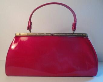 Fantastic Red Vinyl Handbag 1950s-1960s
