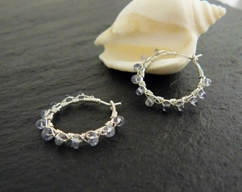 NEW: Iolite and sterling silver wire wrapped hoop earrings, silver hoop earrings, gemstone hoops, iolite earrings, gemstone earrings