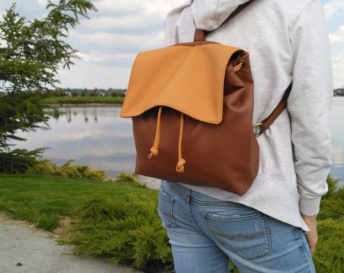 Vegan leather Backpack, Multifunction bag, Shoulder Bag, Crossbody bag brown, Moms backpack - walking bag