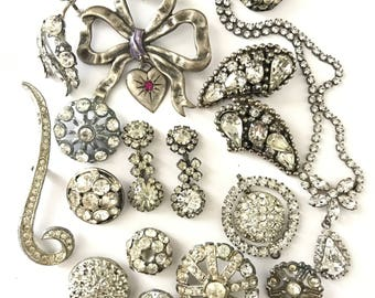 Vintage Silver Metal Finding Lot, Broken Jewelry Lot for Assemblage, Rhinestone Assemblage
