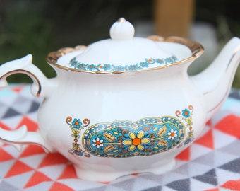 Antique Vintage White with Flora Design Tea Pot