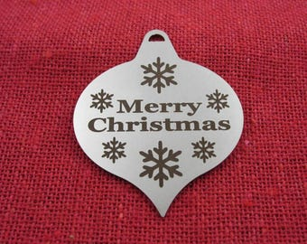 Small Laser Engraved Onion Christmas Ornament, Stainless Steel, Christmas Ornaments, Christmas Decoration, Tree Ornament, Christmas Decor