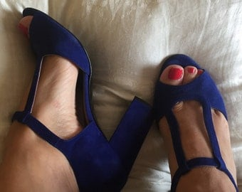 Electric blue suede double t-strap sandals with block heel