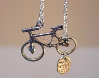 Handmade Antique Silver Bicycle Charm Chain Necklace Pendant