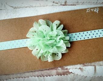 Mint Flower Headband,Toddler Headband, Child Headband,  eyelet lace flower Headband, polka dot Headband, large Flower Headband,  purple dot