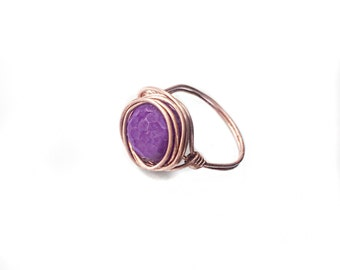 Amethyst Wire Ring - Copper Amethyst Ring - Wire Ring - Spiritual Jewerlry - Wire Jewelry - Wire Wrapped Jewelry - Gift