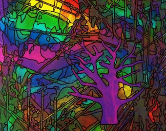 Original Tree Painting, Acrylic on Canvas, Abstract Rainbow Colors, Fine Art, 8x10, Fragmented Forest