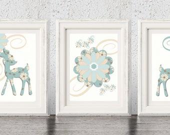 Baby Deer Prints, Deer Prints, Deer Nursery Art, Woodland Nursery Wall Art, Deer Nursery Decor, Floral Nursery Art, Floral Wall Art Prints