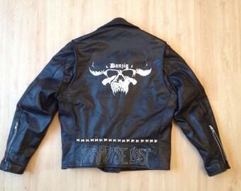 Painted studded Leather Biker Jacket Vintage Metal Bands
