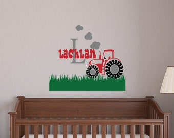 Custom Tractor decal - Removable/decals/wall art/monogram/clouds/nursery/boys room/grass