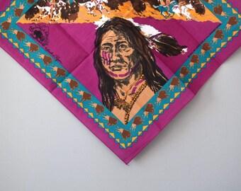 Vintage Magenta Native American Buffalo and War Horse Bandana
