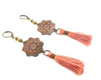 Mandala, mala, old tassel pink, copper grgve earrings