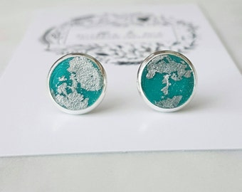 Silver and clay stud earrings